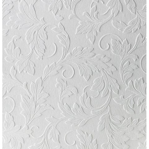 Graham & Brown Large Scrolling Leaf Paintable Wallpaper