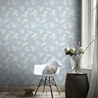 Graham & Brown Cherry Blossom Teal Wallpaper