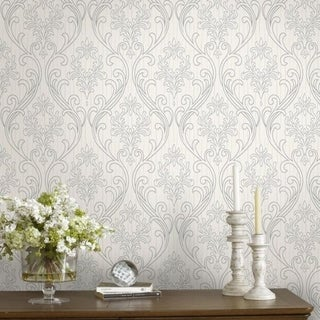 Graham & Brown Royale Silver / White Wallpaper