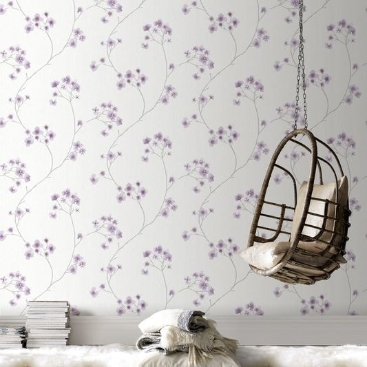 Graham & Brown Radiance White/ Lavender Wallpaper