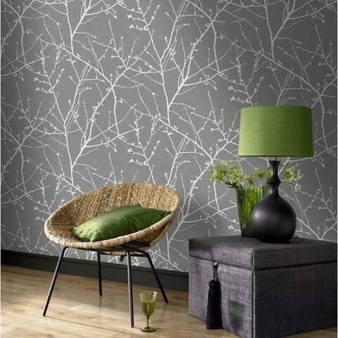 Graham & Brown Innocence Charcoal/ Silver Wallpaper