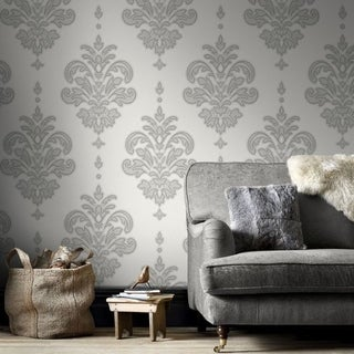 Graham & Brown Olana Grey / White Wallpaper