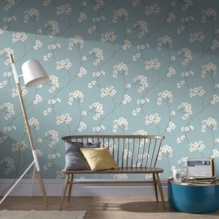 Graham & Brown Radiance Blue/ Cream Wallpaper