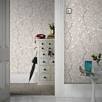 Graham & Brown Karma Taupe/ Charcoal Wallpaper