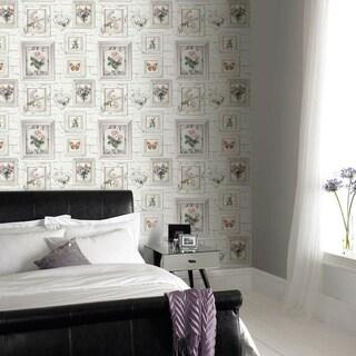 Graham & Brown Brick Floral Frames Wallpaper