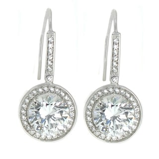 Michael Valitutti 10K White Gold Round Cubic Zirconia Dangle Earrings