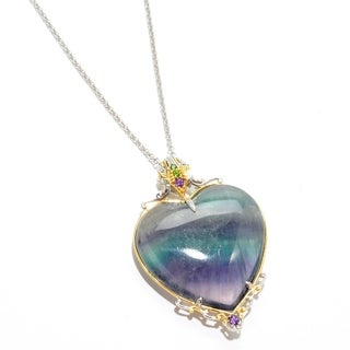 Michael Valitutti Palladium Silver Heart Shaped Fluorite & Multi Gem Pendant