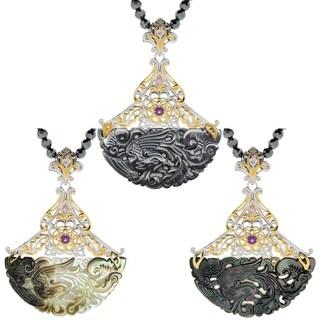 Michael Valitutti Palladium Silver Asia Carved Mother-of-Pearl/Hematite & Multi Gemstone Pendant