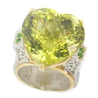 Michael Valitutti Palladium Silver Heart Checktop Ouro Verde & Chrome Diopside Ring