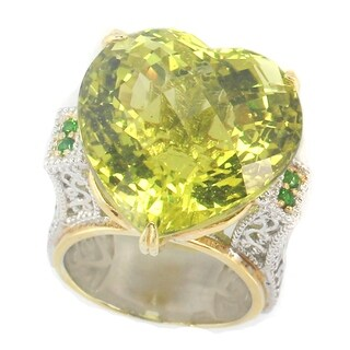 Michael Valitutti Palladium Silver Heart Checktop Ouro Verde & Chrome Diopside Ring