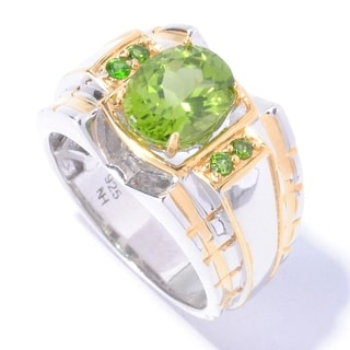 Michael Valitutti Palladium Silver Peridot & Chrome Diopside Polished Men's Ring