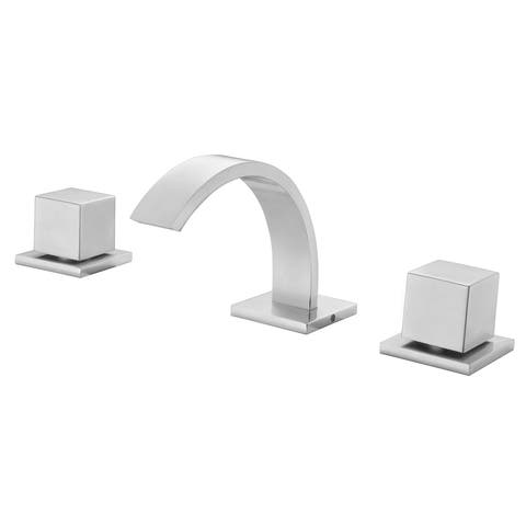 ALFI brand AB1326-BN Brushed Nickel Modern Widespread Bathroom Faucet - Silver