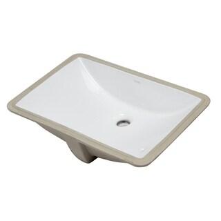 "EAGO BC227 White Ceramic 22""x15"" Undermount Rectangular Bathroom Sink"