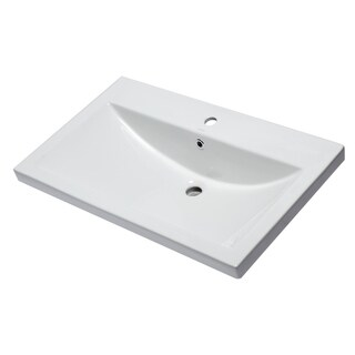 "EAGO BH001 White Ceramic 32""x19"" Rectangular Drop In Sink"