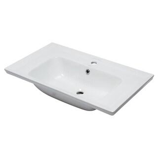 "EAGO BH003 White Ceramic 32""x19"" Rectangular Drop In Sink"