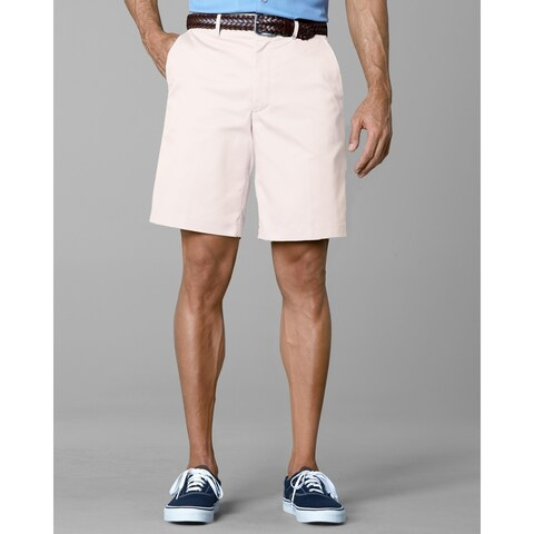 Twin Hill Mens Shorts White Poly/Cotton Flat Front