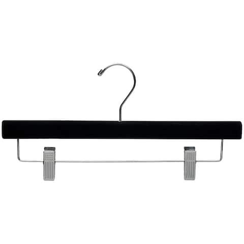 Black Velvet Wooden Pant Hanger with Adjustable Cushion Clips, Flocked Bottom Hangers with Chrome Swivel Hook