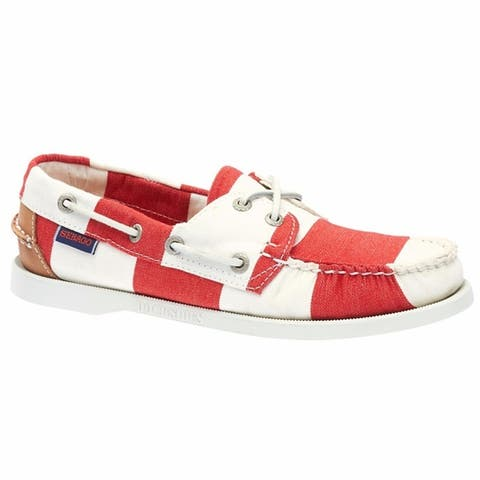 Sebago Womens Spinnaker Boat Shoes Red White Stripe Canvas