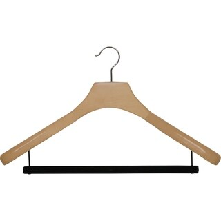 Deluxe Wooden Suit Hanger with Velvet Bar, Large 2 Inch Wide Contoured Hangers with Natural Finish & Chrome Swivel Hook