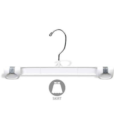 White Plastic Bottoms Hanger with Secure Grip Locks, Strong Pants Hangers Great for Shorts or Swimsuits