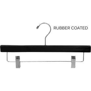 Black Rubberized Wooden Pant Hanger with Adjustable Cushion Clips, Rubber Coated Bottom Hangers with Chrome Swivel Hook