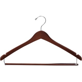 Curved Wooden Suit Hanger with Walnut Finish & Locking Pant Bar, 1/2 Inch Thick Hangers with Polished Chrome Swivel Hook