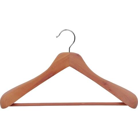 Deluxe Cedar Suit Hanger, Unfinished with Chrome Swivel Hook and Cedar Scent, Large Contoured Hangers with 2 Inch Wide Shoulders