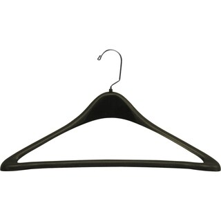 Extra Large Black Plastic Suit Hanger with Fixed Pant Bar, Curved 19 Inch Hangers with Chrome Swivel Hook