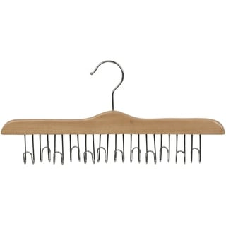 Solid Hardwood Belt Hanger with 12 Hooks, Natural Finsh with Chrome Hardware