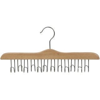 Solid Hardwood Belt Hanger with 12 Hooks, Natural Finsh with Chrome Hardware, (Box of 1)