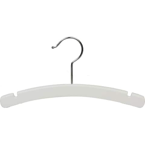 White Arched Wooden Baby Hanger, 10 Inch Wood Top Hangers with Chrome Swivel Hook for Infant Clothes or Onesie