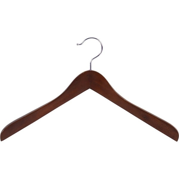 Shop Concave Wooden Top Hanger With Walnut Finish Thick
