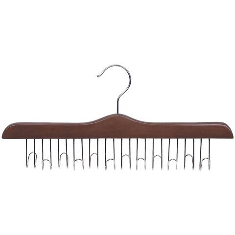 Solid Hardwood Belt Hanger with 12 Hooks, Walnut Finsh with Chrome Hardware, box of 1