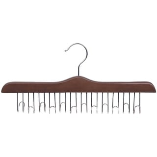 Solid Hardwood Belt Hanger with 12 Hooks, Walnut Finsh with Chrome Hardware, box of 1