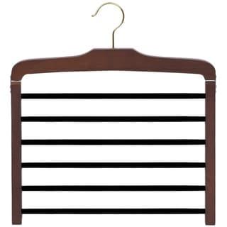 Wooden 6 Tier Pant Hanger with Black Velvet Non-Slip Bars, Wood Bottom Hanger, Walnut Finish and Chrome Swivel Hook, Box of 1