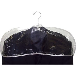 Clear Plastic Men's Shoulder Covers, 24 Inch Vinyl Protective Cover with Stitched Edges, Box of 12