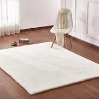 White Solid Faux Fur Area Rug with Suede Backing - 5' x 7'