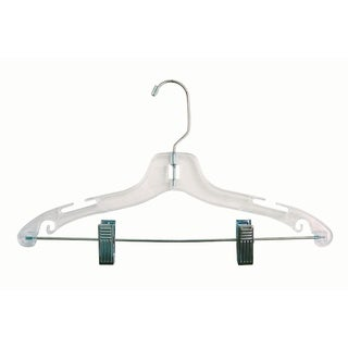 Clear Plastic Kids Combo Hanger with Adjustable Cushion Clips, Box of 100 12 inch Hangers with Notches and Chrome Swivel Hook