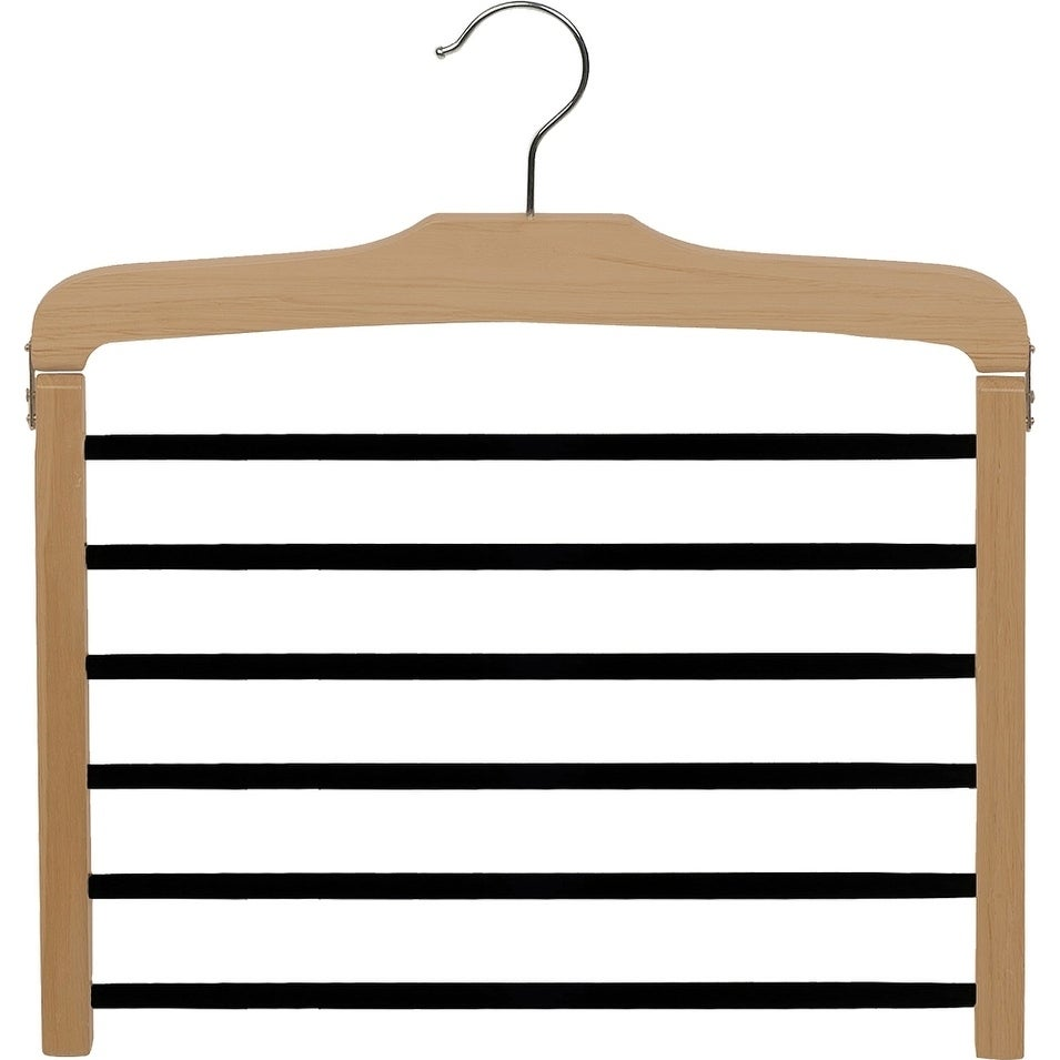 Details About Wooden 6 Tier Pant Hanger W Black Velvet Non Slip Bars Wood Bottom Hanger With