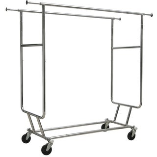 Collapsible Double Bar Chrome Garment Rack, Commerical Grade Rolling Garment Rack with Adjustable Height & Length