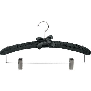 Black Satin Combo Hanger with Adjustable Cushion Clips, Box of 24 Padded Wood Hangers with Studs for Shoulder Straps