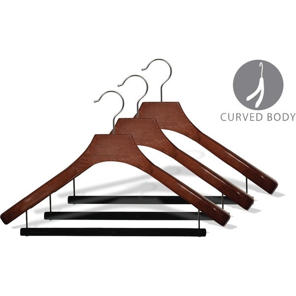 Deluxe Wooden Suit Hanger with Velvet Bar, Walnut Finish & Chrome Swivel Hook, Large 2 Inch Wide Contoured Hangers