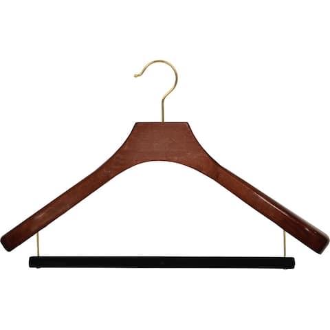 Deluxe Wooden Suit Hanger with Velvet Bar, Walnut Finish & Brass Swivel Hook, Large 2 Inch Wide Contoured Coat & Jacket Hangers