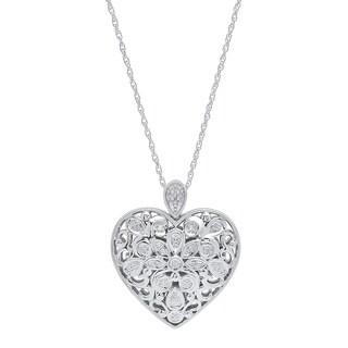 Marabela Sterling Silver and Diamond Filigree Floral Heart Pendant