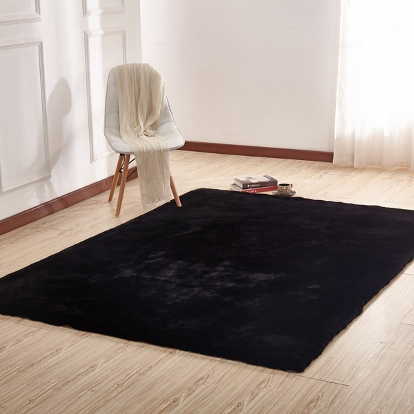 Shop Black Solid Faux Fur Area Rug With Suede Backing