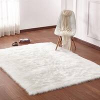 Ivory White Solid Faux Fur Area Rug with Suede Backing - 5' x 7'