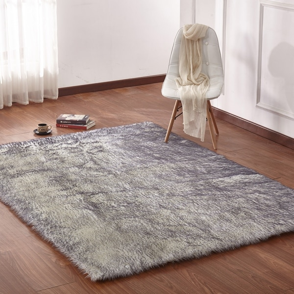 Black White Solid Faux Fur Area Rug With Suede Backing