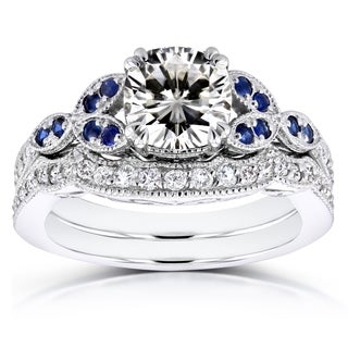 Annello by Kobelli 14k White Gold 1 1/2 Carat TGW Cushion Moissanite with Sapphire and Diamond Accents Bridal Set