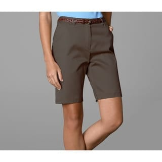 Twin Hill Womens Shorts Brown Poly/Cotton Flat Front