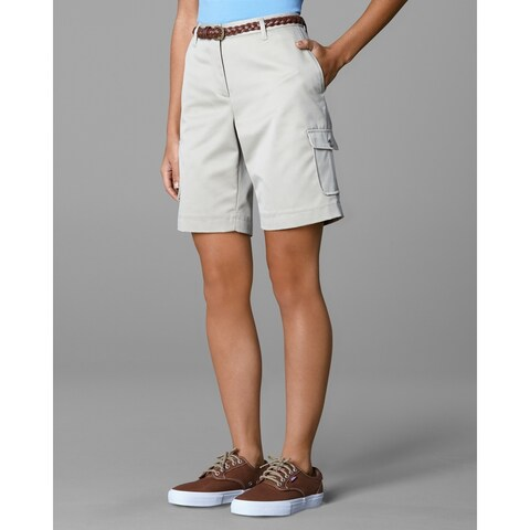 Twin Hill Womens Shorts Khaki Poly/Cotton Flat Front